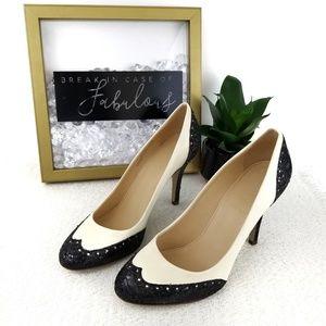 J crew Mona cream and black oxford glitter heels